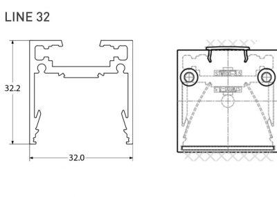 Immagine Profilo in alluminio per LED, Line 32